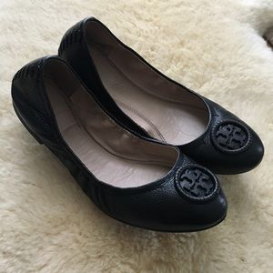 Tory Burch Black Leather Allie Flats